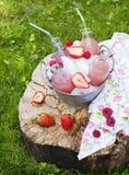 柠檬水用莓 库存照片