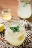 柠檬水用薄菏和蜂蜜 免版税库存照片