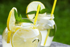 柠檬水用薄菏 免版税图库摄影