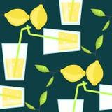 柠檬水鸡尾酒无缝的传染媒介样式与 免版税库存照片