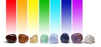 查克拉医治用的水晶颜色图表 库存照片