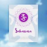 查克拉Sahasrara象, ayurvedic标志,印度教,佛教的概念 库存照片