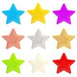 查出九集合星形的五颜六色光滑 库存例证
