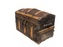 查出在空白老木宝物箱 免版税图库摄影