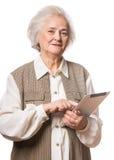 查出在纵向高级白人妇女 免版税库存图片
