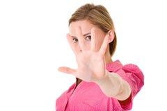 查出我逗留不快乐的妇女年轻人 免版税库存图片
