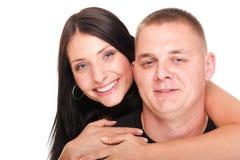 查出的一对美好的新愉快的微笑的夫妇的纵向 免版税图库摄影