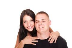 查出的一对美好的新愉快的微笑的夫妇的纵向 免版税库存图片