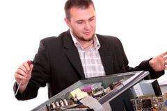 查出的个人计算机技术员白色 库存图片