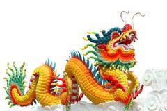 查出的中国五颜六色的龙 免版税库存照片