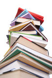 查出的书堆白色 免版税库存照片