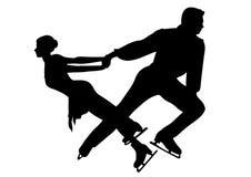查出的冰配对剪影溜冰者 免版税库存图片