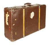 查出的减速火箭的手提箱白色 免版税库存图片