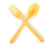 查出的刀叉餐具一次性 免版税库存照片