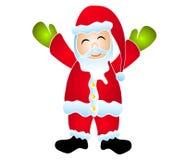 查出的动画片微笑的圣诞老人剪贴美术 免版税库存图片