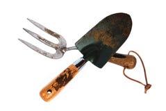 查出的叉子庭院用工具加工修平刀 免版税库存图片