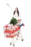 查出的圣诞节销售额的快乐的妇女界面 免版税库存图片