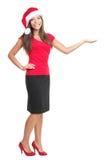 查出的圣诞节copyspace显示妇女 免版税图库摄影
