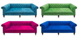 查出的多色集沙发 免版税库存照片