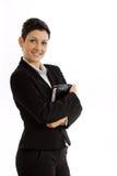 查出的女实业家愉快 免版税库存图片