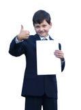 查出的好的男小学生显示 免版税图库摄影