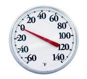 查出的室外温度计 免版税库存照片