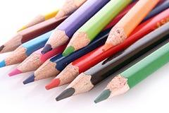 查出的少量颜色铅笔 免版税库存图片