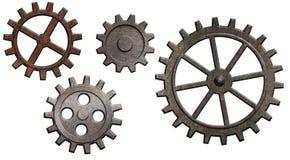 查出的嵌齿轮齿轮金属化生锈的集白色 免版税库存图片