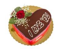 查出的心形的巧克力蛋糕 免版税库存照片