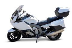 查出的摩托车白色 免版税库存照片