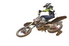 查出的摩托车越野赛 免版税库存图片