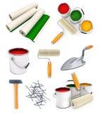 查出的收集房子修理工具 库存图片