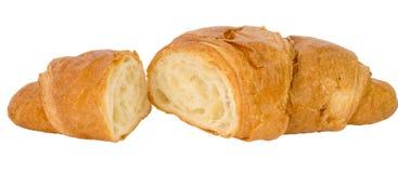 查出的新鲜的新月形面包 免版税库存照片
