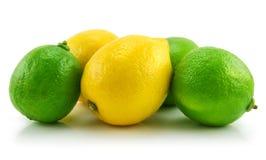 查出的柠檬石灰成熟白色 图库摄影