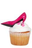 查出的桃红色高跟鞋杯形蛋糕 库存图片