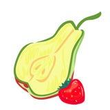 查出的梨草莓白色 库存照片