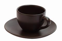 查出的棕色咖啡杯 免版税图库摄影