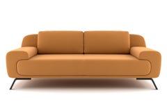 查出的橙色沙发白色 免版税图库摄影