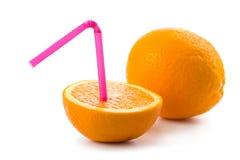 查出的橙色秸杆 库存图片