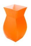 查出的橙色花瓶白色 免版税库存照片