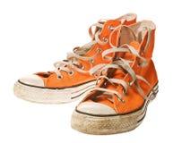 查出的橙色鞋子白色 免版税库存图片