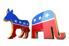 查出的民主党当事人和共和党Symbo 免版税库存照片