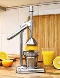 查出的汁液橙色白色 手或榨汁器和新鲜水果 免版税库存图片