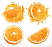 查出的汁液橙色白色 新鲜水果和飞溅 纸板颜色图标图标设置了标签三向量 库存例证