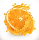 查出的汁液橙色白色 新鲜水果 适应图标 向量例证