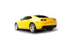 查出的汽车炫耀黄色 免版税库存照片