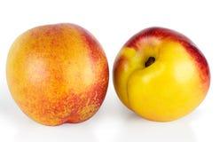 查出的油桃白色 免版税库存图片