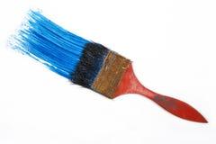 查出的油漆刷白色 蓝色画笔冲程 库存图片