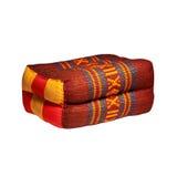 查出的泰国样式colorlul棉花枕头 免版税库存照片