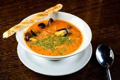 查出的海鲜汤 与鱼和淡菜的开胃汤,供食 免版税库存照片
